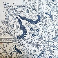Antique Hand Embroidered Linen Table Cloth and 12 Napkins Blue Heraldic Crest