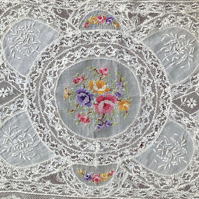 Antique French Normandy Lace Tray Cover with Petit Point Roses