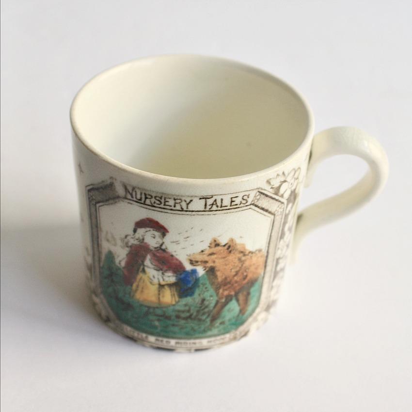 Antique Child's Alphabet ABC Mug Nursery Tales Red Riding Hood