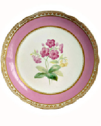 19th Century Old Paris Porcelain Pink Hand Painted Floral Compote