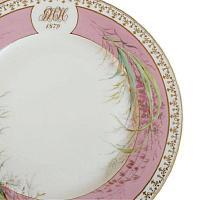 Antique Hand Painted Pink and Gilt Monogrammed Porcelain de Paris Charger