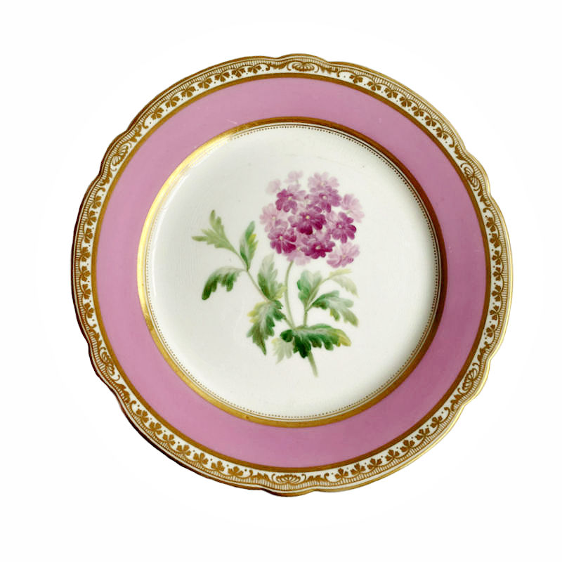 19th Century Old Paris Porcelain Pink Hand Painted Floral Plate B
