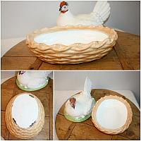 Large 19th Century French Country Bisque Hen on Nest