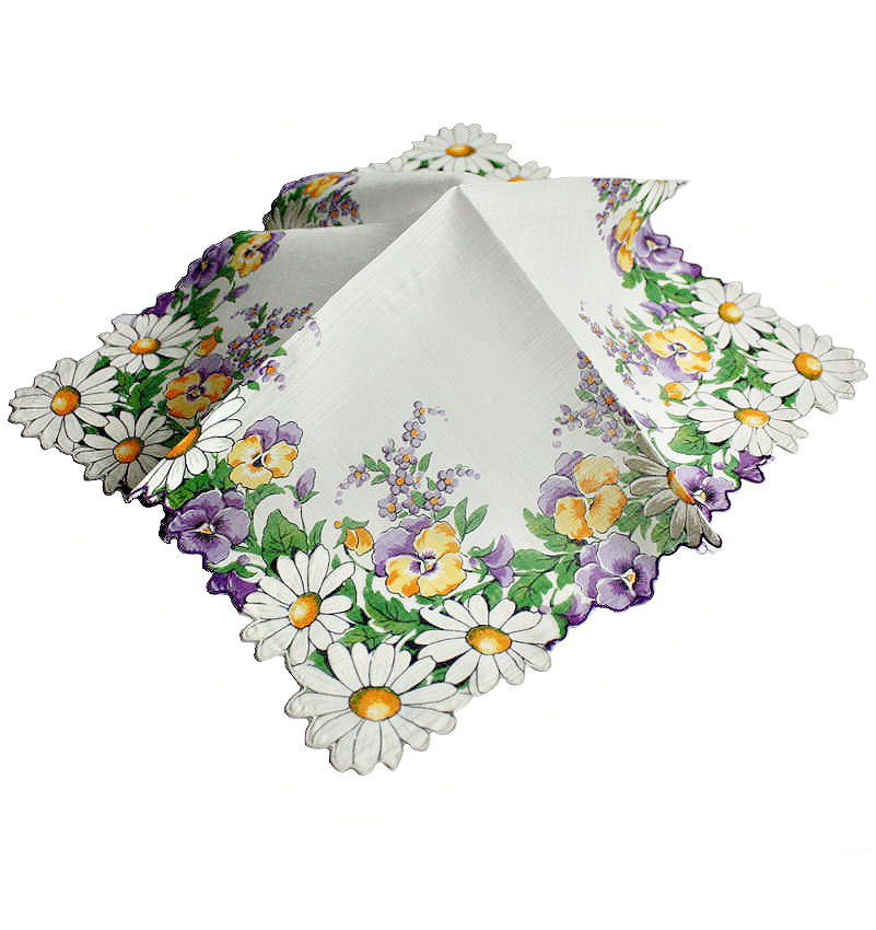 Vintage Scalloped Handkerchief with Pansies and Daisies