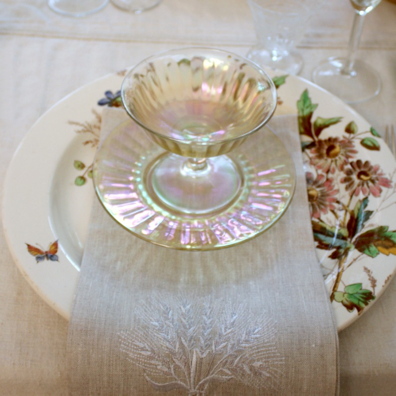 Vintage Iridescent Butterscotch Dessert Compotes and Plates Set of 4