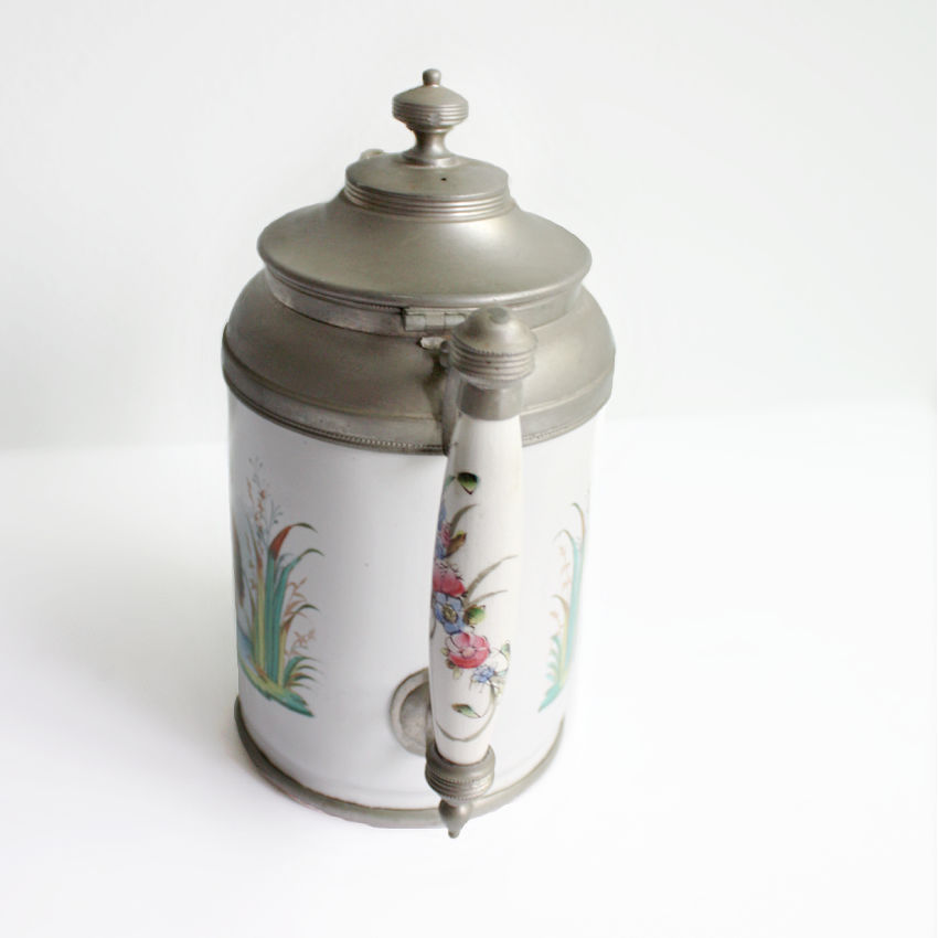 19th Century Decorated Pearl Agateware Coffee Pot with Bird
