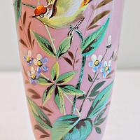 Antique Pink Hand Enameled Glass Vase with Bird