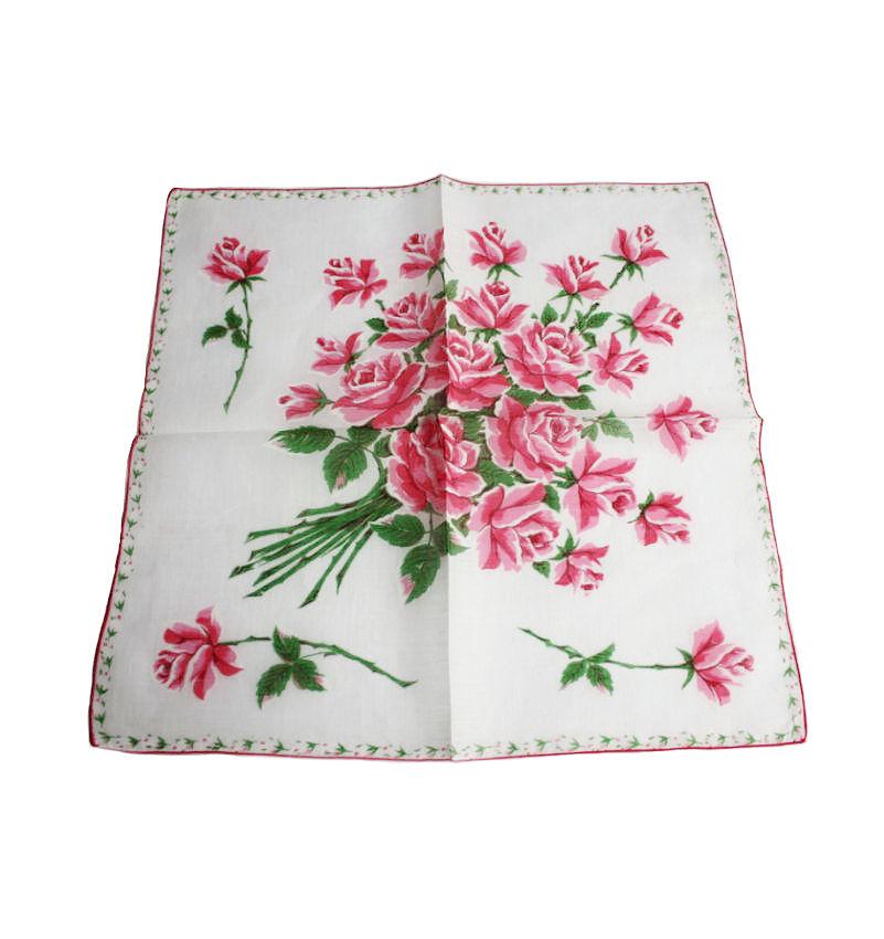 Vintage Bright Pink Roses Handkerchief