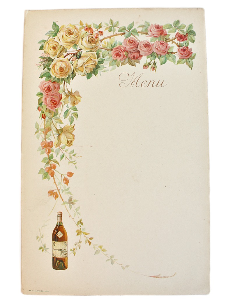 Antique French Menu with Pink & Yellow Roses