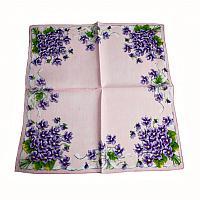 Vintage Pink Handkerchief with Violets
