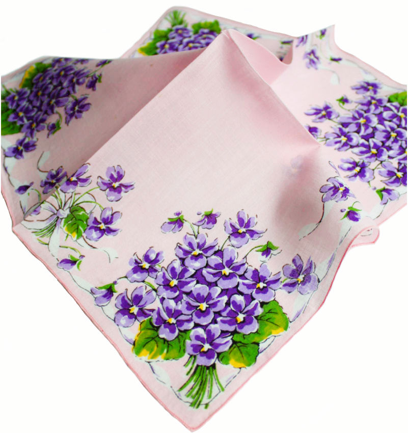 Vintage Pink Handkerchief with Violets