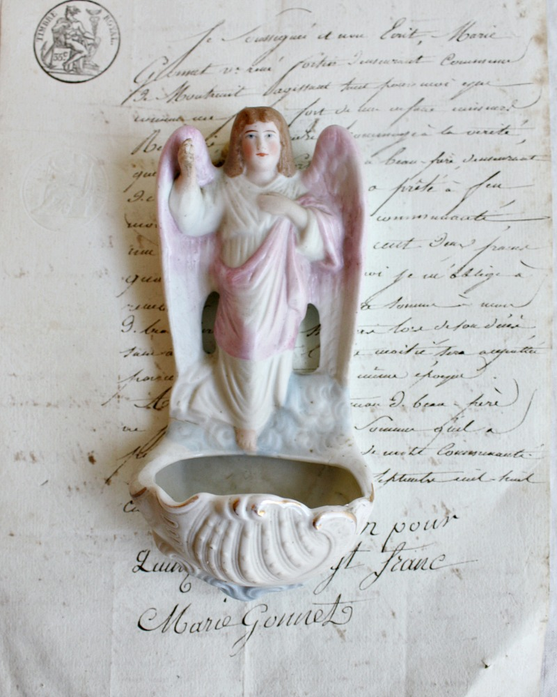 Antique Porcelain Holy Water Font Angel