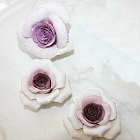 Hand Made Porcelain Deep Pink Roses Set of 3