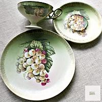 Antique Footed Hand Painted Grapes Tea Cup and Saucer Trio