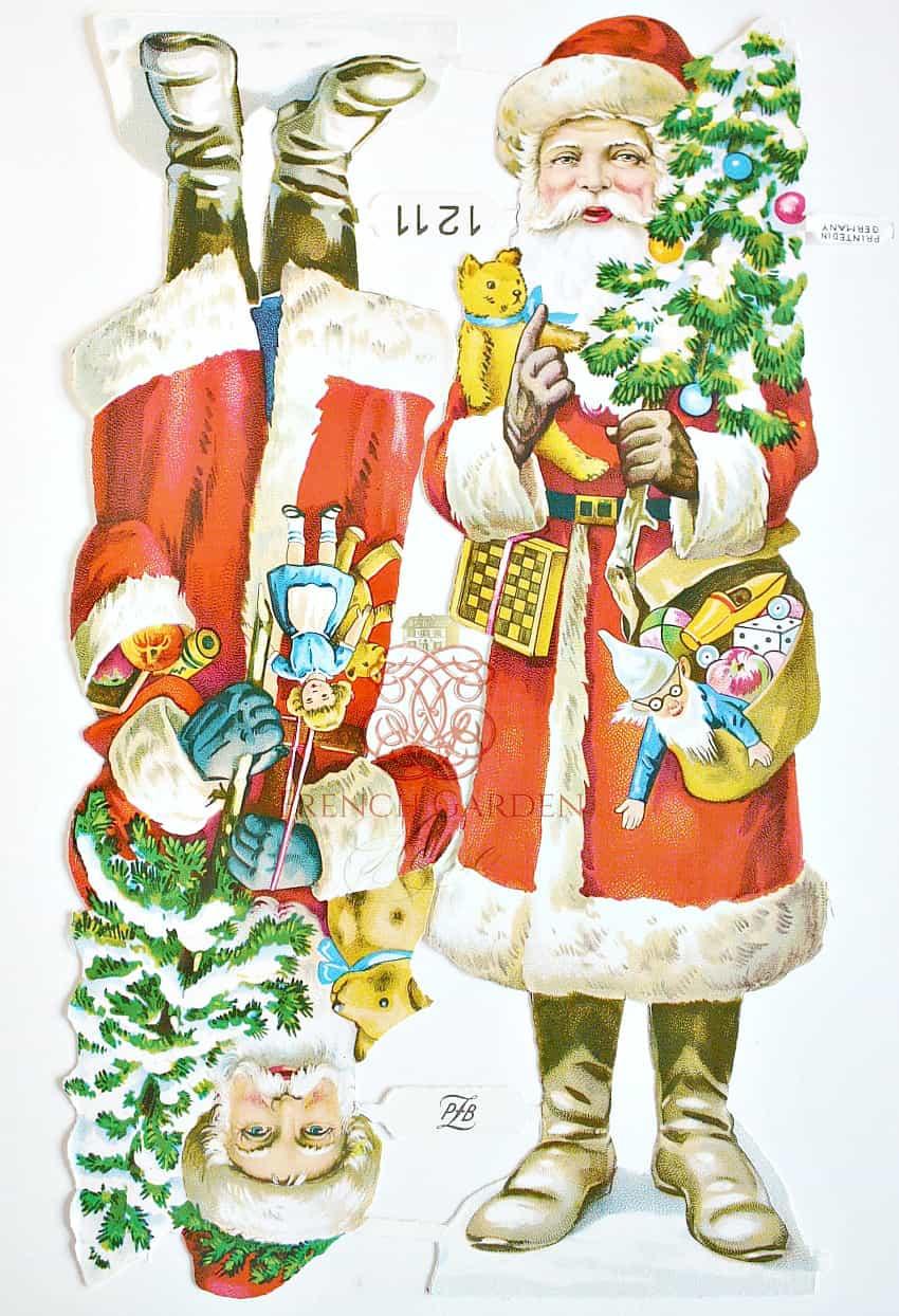 Rare Antique Estate Large Father Christmas Paper Embellishments