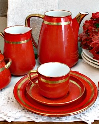 Vintage Red Enamelware Set