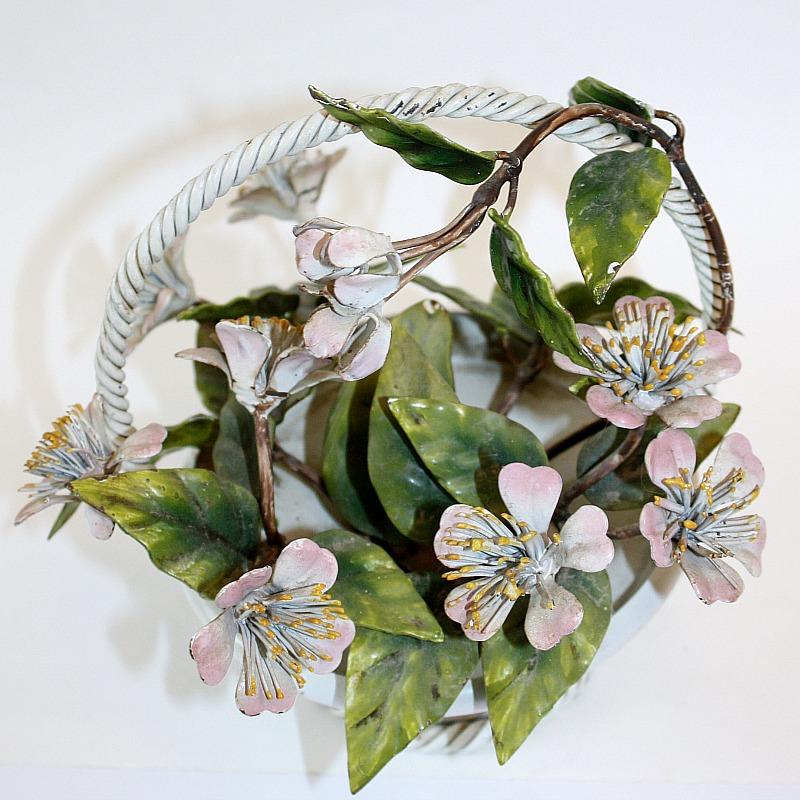 Vintage Italian Pink Floral Tole Basket of Flowers
