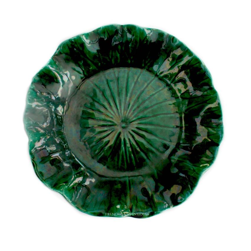 Antique Dark Green Luster Majolica Ruffled Plate