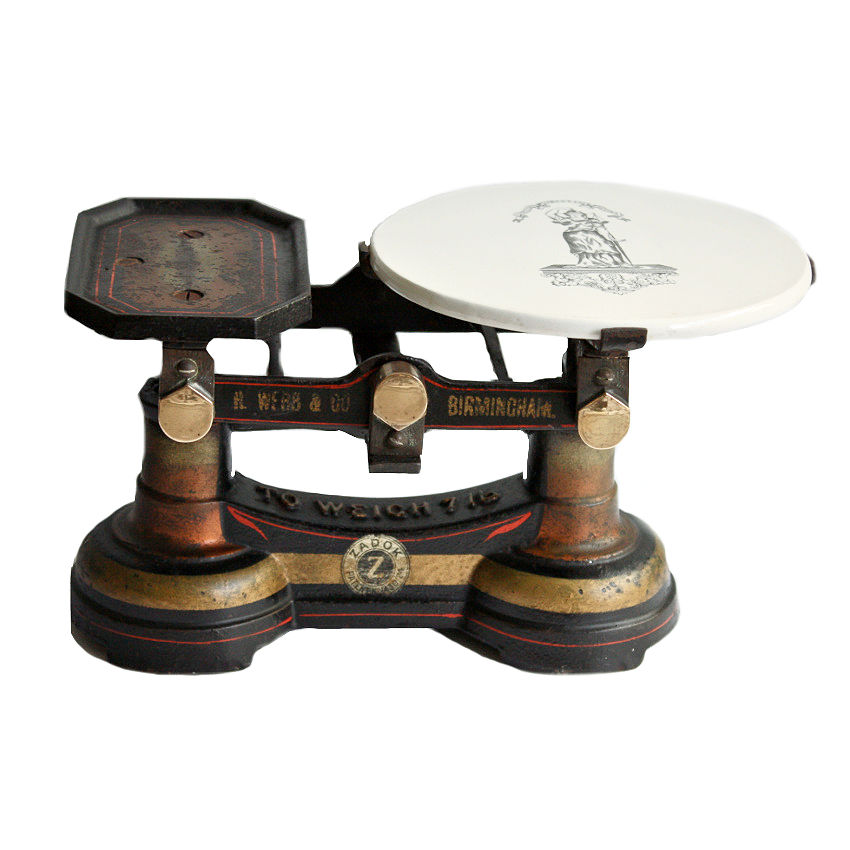 Antique English Birmingham Grocery or Butcher Scale with Ironstone Plateau