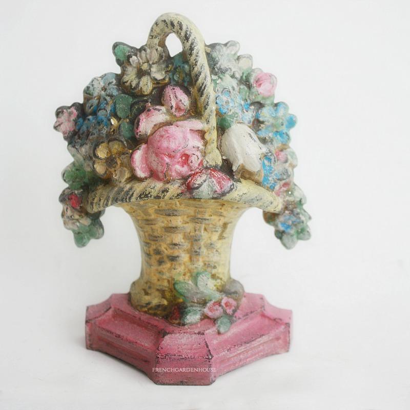 Antique Floral Miniature Cast Iron Door Stop Pink