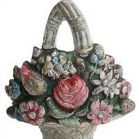 Antique Floral Miniature Cast Iron Door Stop Garden Bouquet