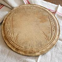 Antique Hand Carved Country Round Bread Board Wheat