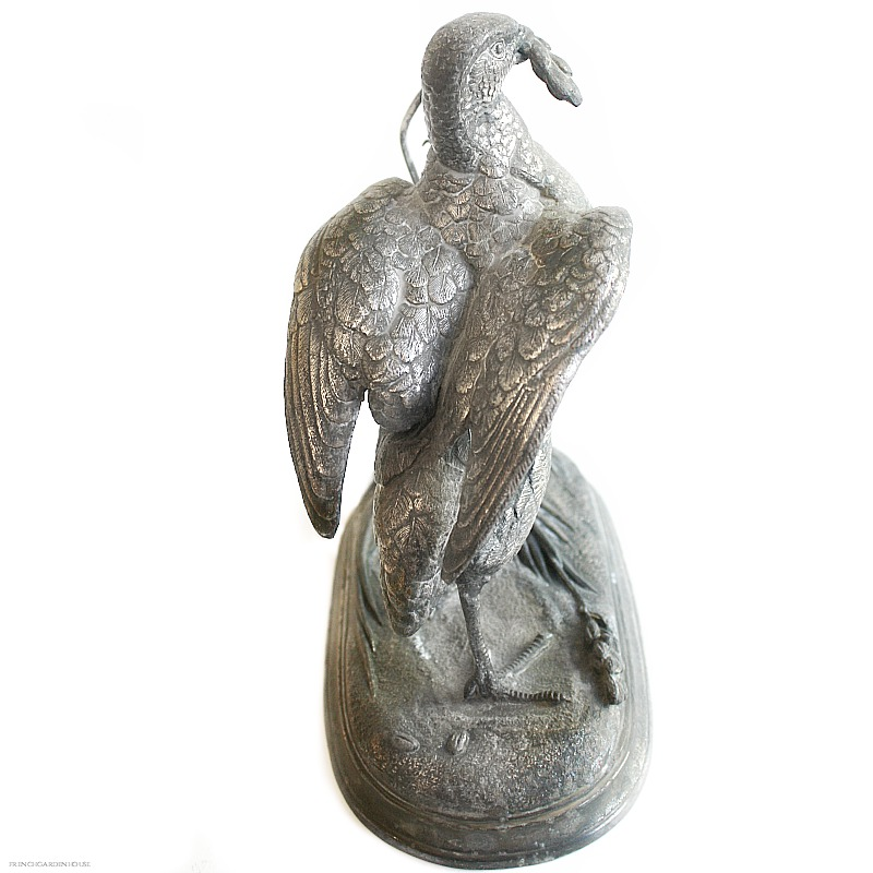 Antique Silver Plate Bird Figural Sculpture
