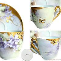 Antique French Hand Painted T & V Limoges Purple Violet Gilt Demitasse Cup & Saucer