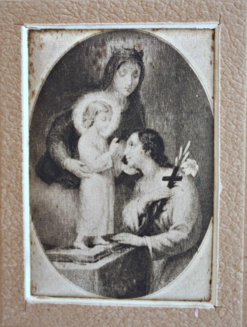 Antique Madonna & Christ Child Silk Prints Pair