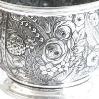 Antique Aesthetic Rose Floral Silver Plate Repousse Bowl