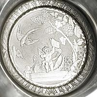 Antique Quadruple Plated Silver Butter Dish with Cherub