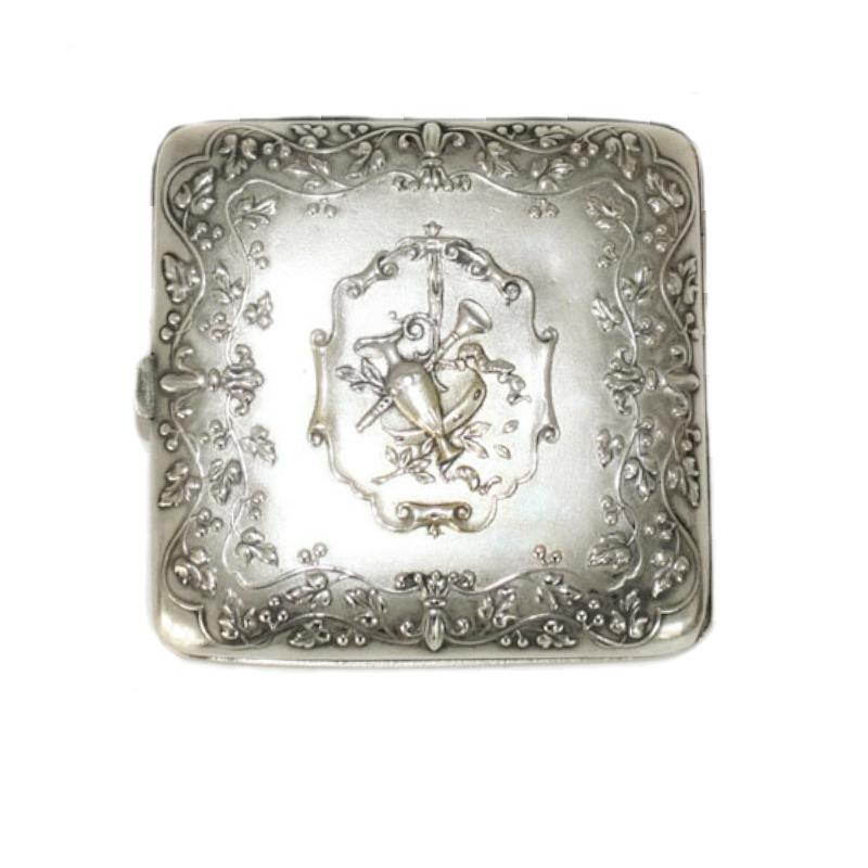 Antique French Art Nouveau Silver Plate Monogrammed Card Case