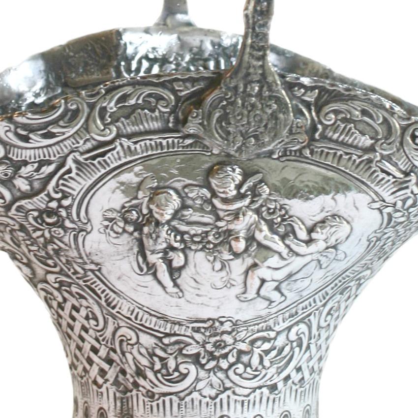 Antique Silver Plated Repousse Brides Basket