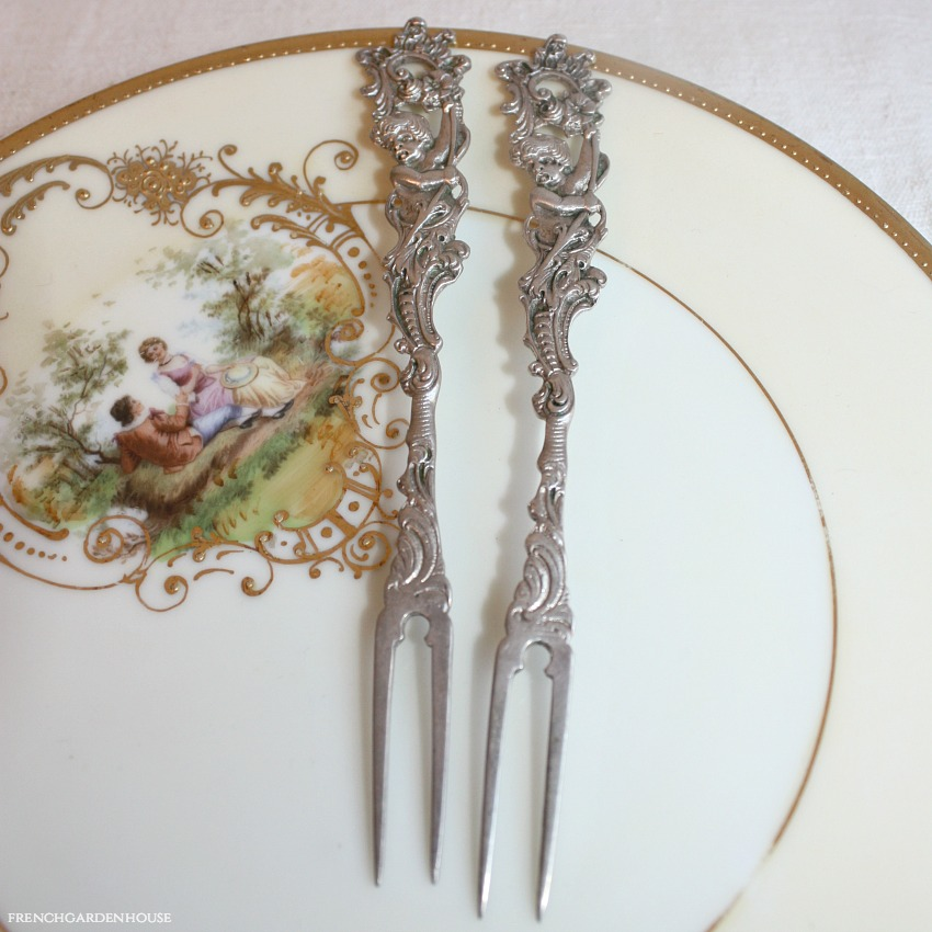 Antique Continental Silver Cherub Hors d'Oeuvres Fork Pair