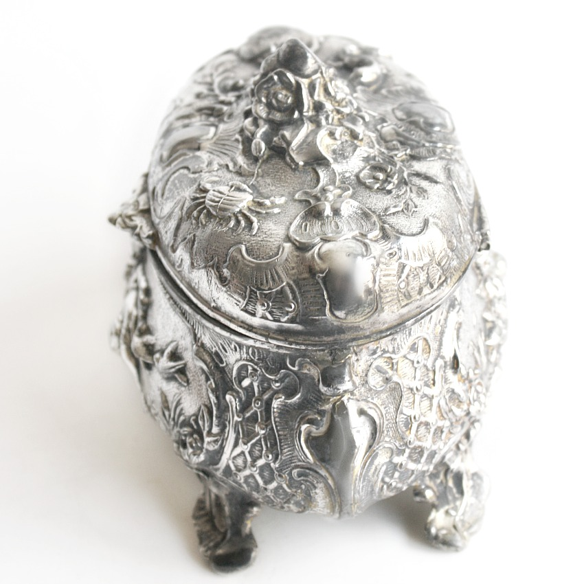 Antique Silver Plate Cherub Angel Floral Jewelry Box