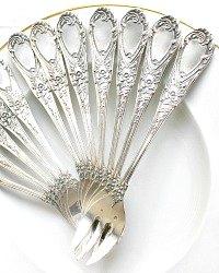 Antique Delheid Freres Fabulous Silver Oyster Forks Set of 12