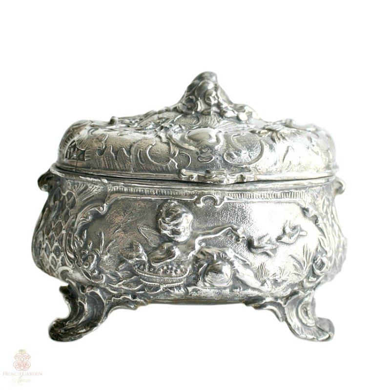 Antique Silver Plate Cherub Angel Floral Jewelry Box