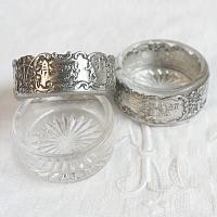 Antique Silver and Glass Salt Cellars Dutch Scenes Set of 2