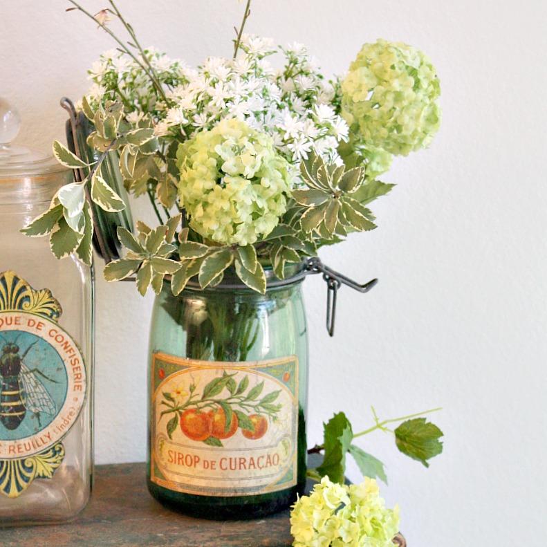 Vintage French Glass Canning Jar Orange Curacao