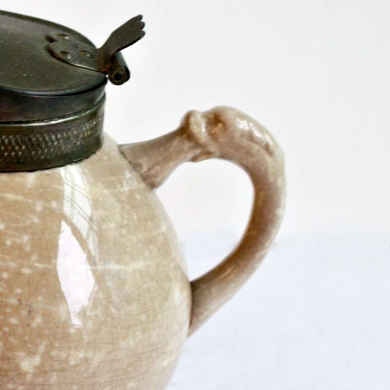 19th Century Ironstone Pitcher with Pewter Lid