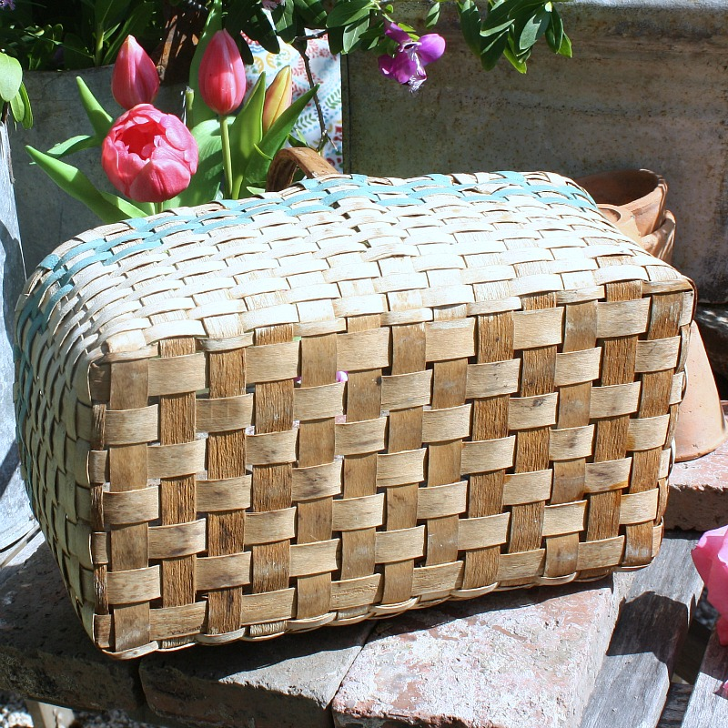 Antique Paint Decorated Two Tone Splint Basket