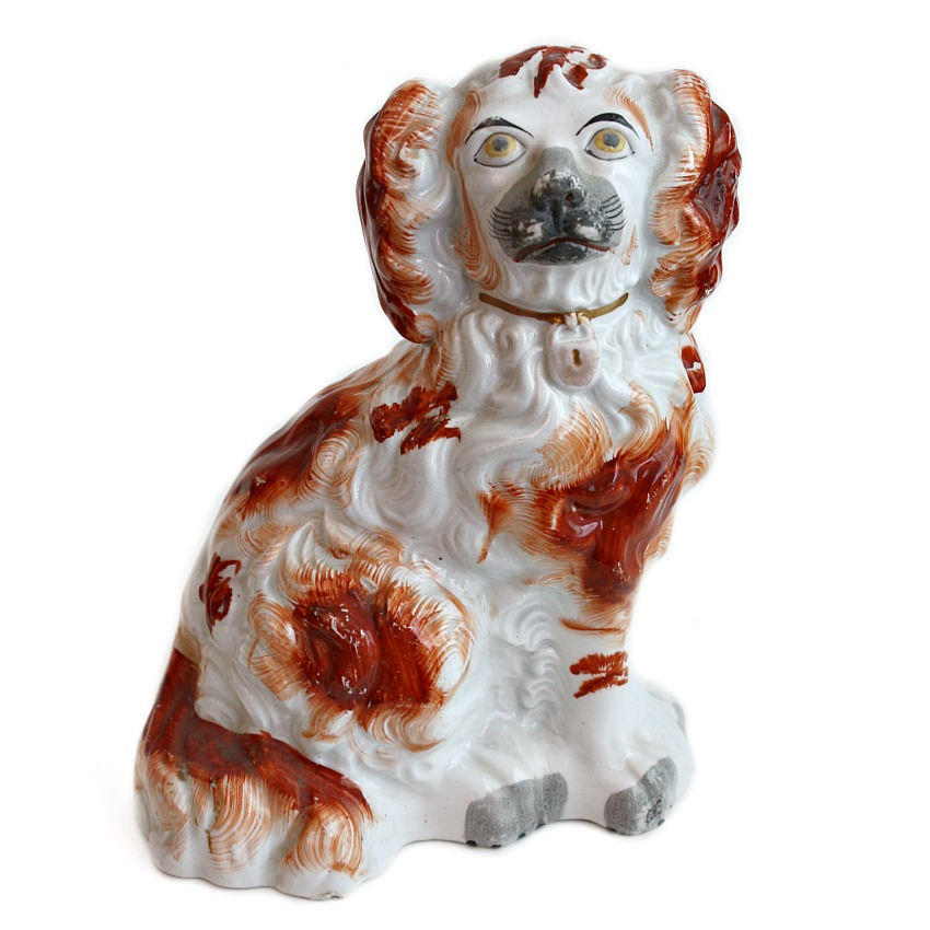 Antique English Staffordshire Dog Hand Painted Brick Red