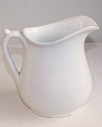Antique White Ironstone Staffordshire Pitcher