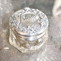 Antique Sterling Silver Cherub & Lady Vanity Jar A R M Monogram