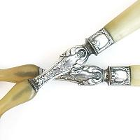 Antique French Silver & Horn Salad Server Pair Art Nouveau