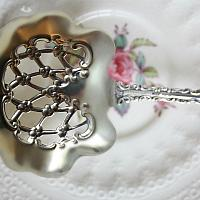 Antique Sterling Silver Bon Bon Nut Spoon Monogram B