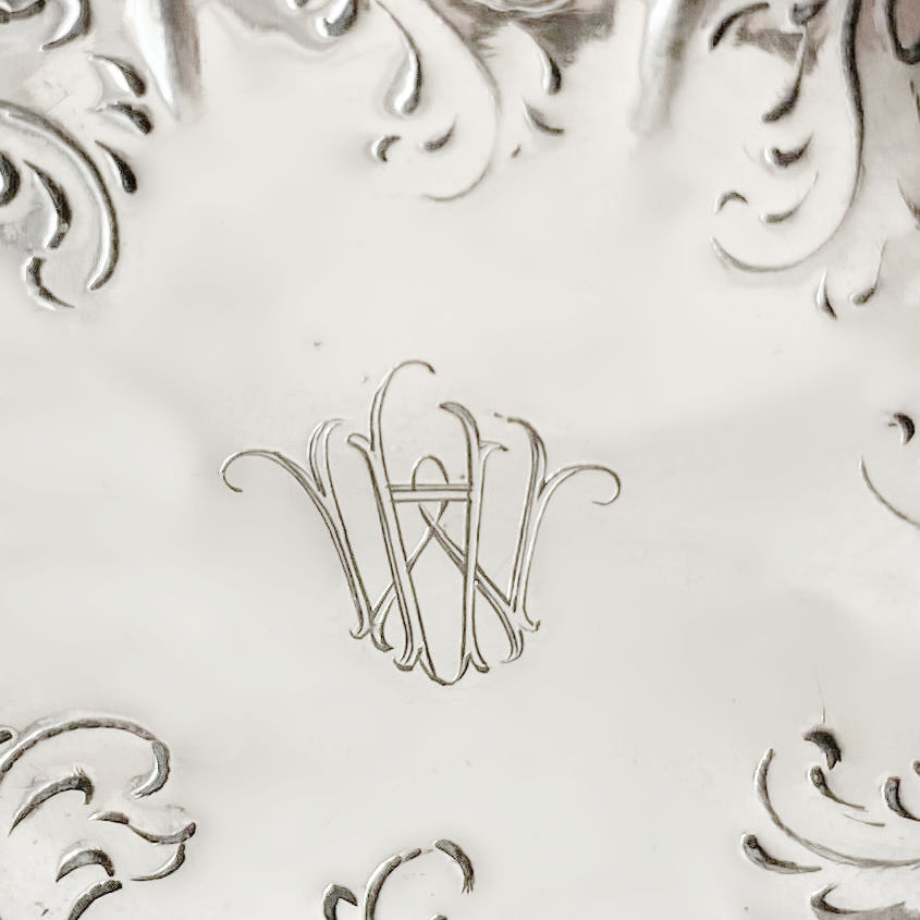 Antique Continental Silver Pierced Footed Bonbon Bowl