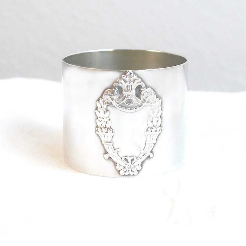 Silver Plate Ornate Crest Napkin Ring