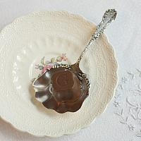 Antique Sterling Silver Bon Bon Nut Spoon Monogram F