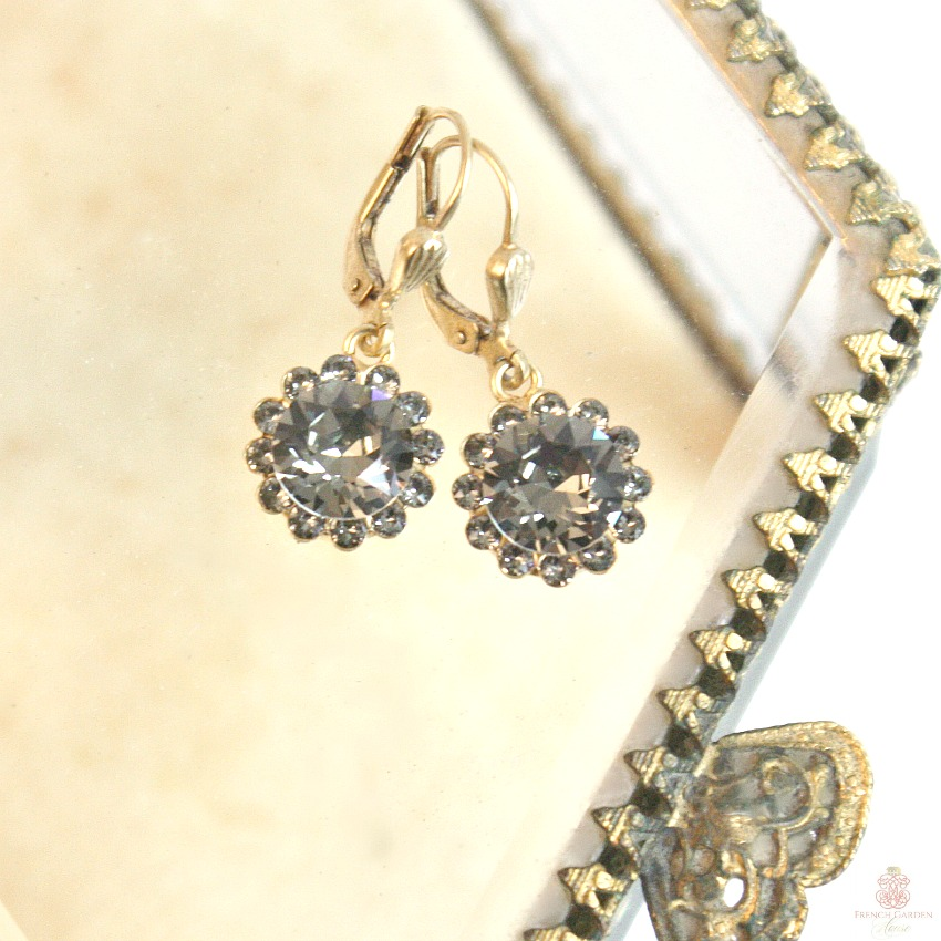 Gold French Fleur Parisian Diamant Cut Crystal Earrings